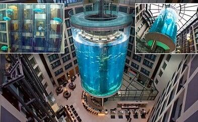 Hotelový výtah v Berlíně projíždí středem 25metrového akvária za 13 milionů eur