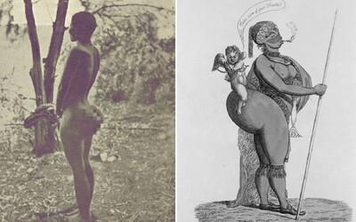 Hotentotská venuša vystupovala polonahá v klietke. Ľudí fascinoval jej zadok a výrazné genitálie