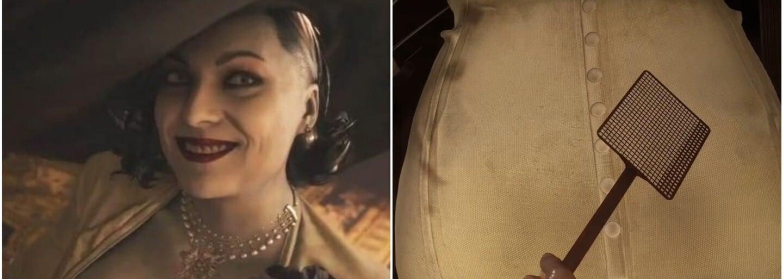 Hráči v Resident Evil: Village udierajú 3-metrovú upírku Lady Dimitrescu po pozadí mucholapkou