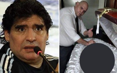 Hrobník si proti sobě poštval fanoušky Maradony. Zneuctil jeho památku nevhodnou fotkou