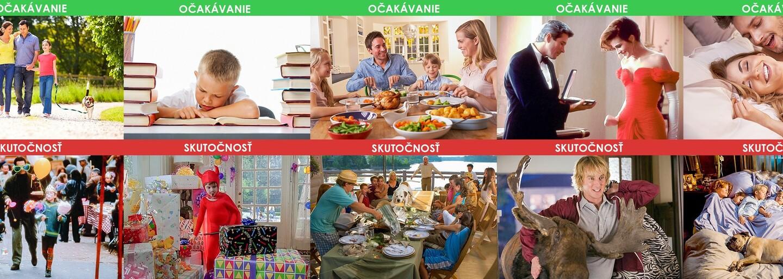Humorná rodinná očekávání versus skutečnost. Manželka a děti nezaručují dokonalý život