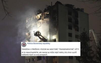 Hyenizmus najhrubšieho zrna: Podvodníci okrádajú obete explózie v Prešove o peniaze, vytvárajú falošné zbierky a bankové účty