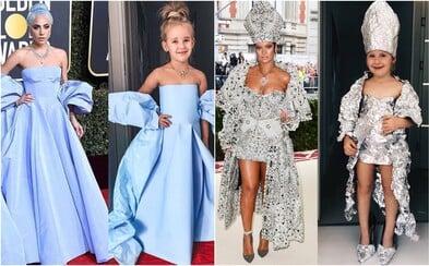 Iba 5-ročná Stefani imituje luxusné outfity známych osobností. Róby si vyrába z papiera a kartónu