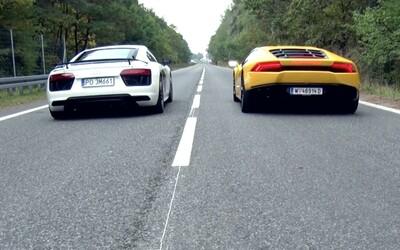Identická, 610koňová V10 ve dvou supersportech. Který je rychlejší, R8 V10 plus nebo Huracán?