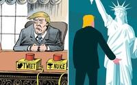 Ilustrácie o novom americkom prezidentovi Trumpovi sa bavia na jeho účet, ale vnímajú ho depresívne