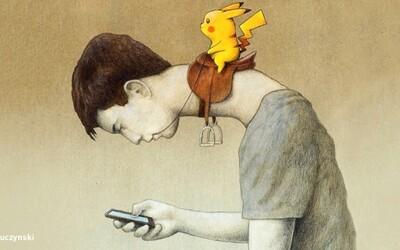Ilustrácie poľského umelca skvele zobrazujú našu súčasnú spoločnosť. Neovládajú ju len vyvolení, ale teraz aj Pokémon GO