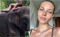 Influencerka kvůli fotce na Instagramu pózovala nahá na ohroženém asijském slonu. Pobouřila fanoušky i eko aktivisty
