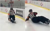 Internet se baví videem opilého ruského hokejového rozhodčího. Před zápasem prý utápěl žal kvůli hádce s přítelkyní