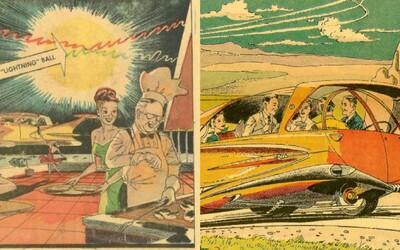 Jak si současnost představovali v 50. letech? Škola s učitelem na obří obrazovce, létající auta, 24hodinové světlo i chytré hodinky