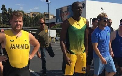 James Corden vymenil karaoke za 100-metrový šprint s Usainom Boltom a Owenom Wilsonom. Víťaz bol jasný už na začiatku