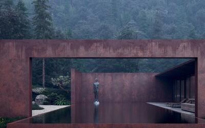 Jednopodlažné sídlo v ružovom šate, ktoré ukážkovo korešponduje s okolitými lesmi a navyše vyzerá fantasticky