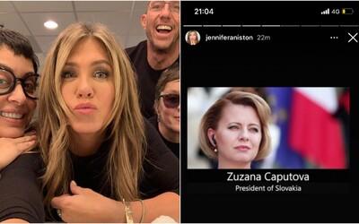 Jennifer Aniston na Instagramu sdílí Zuzanu Čaputovou. Změna již ve světě nastala, píše americká herečka
