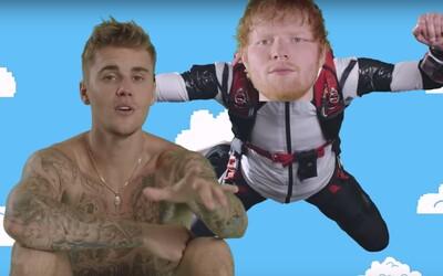 Justin Bieber a Ed Sheeran si užívají party u bazénu. Sleduj bizarní videoklip ke skladbě I Don't Care