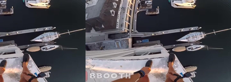 Kalifornský odvážlivec zoskočil z 8-poschodovej budovy a nechýbalo veľa, aby dopadol na mólo. V skokoch sa však chystá pokračovať