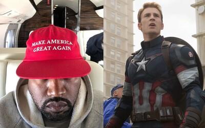 Kanye West chce smazat dodatek ústavy, který v USA zakazuje otroctví. Ostře ho zkritizoval i Chris Evans