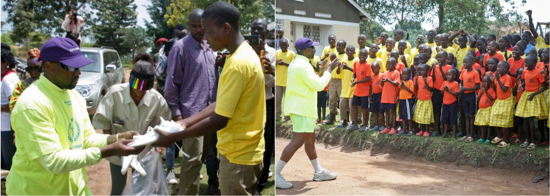 Kanye West daroval sirotám v Ugande desiatky párov tenisiek Yeezy
