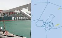 Kapitán lodi Ever Given, který zablokoval dopravu v Suezském průplavu, nakreslil při manévrování penis, ukázaly radary