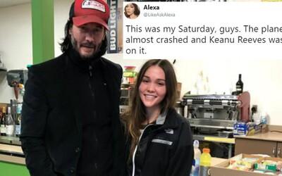 Keanu Reeves sa po núdzovom pristátí vžil do role záchrancu, cestujúcich upokojoval a púšťal im pesničky