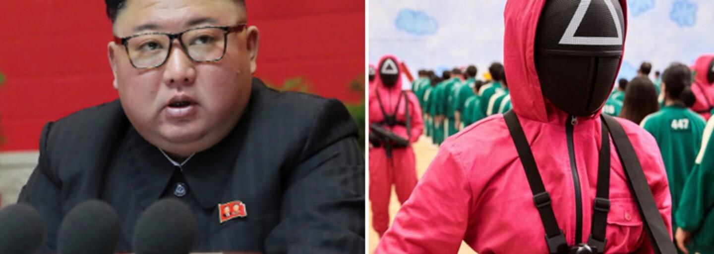 """Kim Čong-un využívá seriál Squid Game k propagandě. """"Jižní Korea je prohnilá kapitalismem,"""" směje se propagandistický web"""