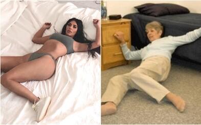 Kim Kardashian chcela spropagovať tenisky Yeezy, no fotkou pobavila celý internet. Z jej komickej pózy sa stalo chytľavé meme
