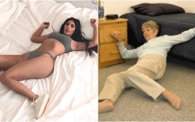 Kim Kardashian chtěla propagovat tenisky Yeezy, ale fotkou pobavila celý internet. Z její komické pózy se stalo meme