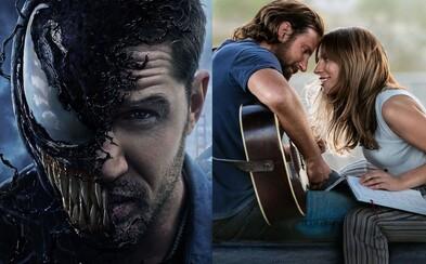 Kino tržby ovládli Venom a Zrodila sa hviezda. Nahláškovaná akcia a emotívna dráma zarábajú stámilióny (Box office)