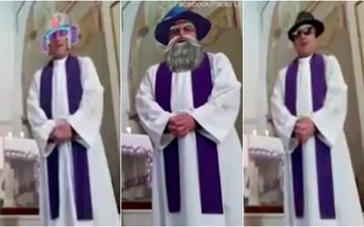 Kněz na Facebooku vysílal mši živě. Během přenosu se mu však omylem zapnuly zábavné filtry