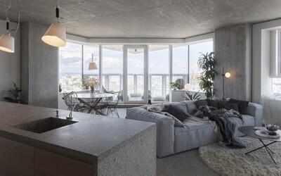 Komplikovanou dispozici proměnili architekti v bytě plném betonu na jeho hlavní výhodu