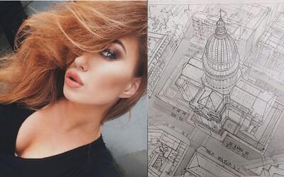 Krásná studentka architektury vytváří fascinující kresby, jaké se dnes jen tak nevidí. Adelina je opravdovou mistryní ve své oblasti