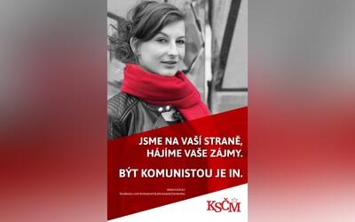 KSČM dala na plakát modelku z fotobanky s heslem, že být komunistou je in. Nakonec ji smazala