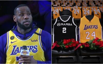 LA Lakers hráli první zápas od smrti Kobeho Bryanta. Basketbalisty i jeho dceru uctil v dojemné řeči i LeBron