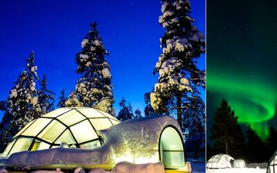 Laponský zimný raj ťa ubytuje v sklenenom iglu, kde môžeš polárnu žiaru pozorovať priamo z postele