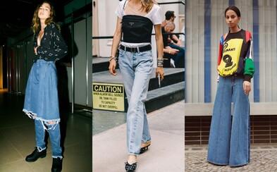 Letošní džínové trendy děsí svojí ujetostí i návratem do minulosti. Troufnete si na ně?
