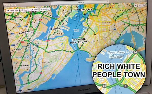 """Mapy.cz označují část New Yorku jako """"městečko bílých bohatých lidí"""""""