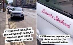"""Matka Dominiky Cibulkovej zrejme takto """"alternatívne"""" parkuje v centre Bratislavy svoj Range Rover, tvrdí Michal Kovačič"""