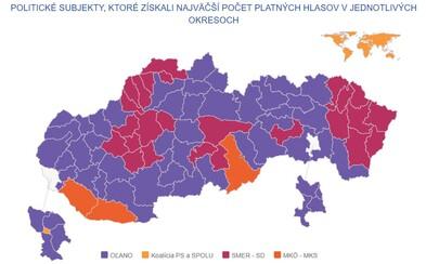 Matovič dominoval na celom Slovensku, Kotleba nevyhral v žiadnom okrese. Pozri si, ako volili Slováci po celej krajine