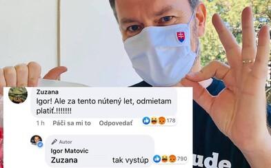 Matovič naložil fanúšičke na Facebooku cez metaforu: Koronavírus je ako let lietadlom, ak nechce platiť, má si vystúpiť