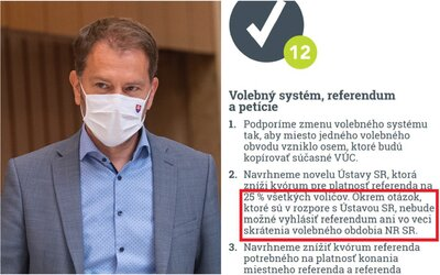 Matovič si protirečí: v programe OĽaNO stojí, že referendum o voľbách je protiústavné, dnes hádže vinu na prezidentku