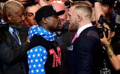 """""""Mayweathera knockoutujem do konca štvrtého kola,"""" vyhlásil McGregor. Tvárou v tvár sa stretli na prvej tlačovke a nechýbali ani štipľavé urážky"""