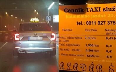 Menej ako 20 € nezaplatíš. Cenník najdrahšieho taxikára v Bratislave ľudí nahneval premrštenými sumami