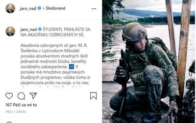 Minister Naď na Instagrame verbuje študentov na vysokú školu s mesačným platom takmer 500 €