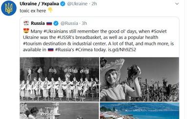 Moja toxická ex. Ukrajinu nebaví počúvať ruskú propagandu, tak sa krajiny doťahujú na Twitteri