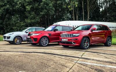 Monštruózne SUV-čka, najsilnejší Cayenne, Range Rover a Grand Cherokee si zmerali sily v šprinte