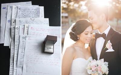 Muž požádal přítelkyni o ruku díky zamilovaným dopisům, které jí psal celé tři roky. Už v prvním začal skrývat tu kouzelnou otázku