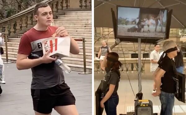 Muž provokoval vegánov. Počas ich protestu sa zahryzol do krídeliek z KFC