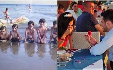 Muž se našel na 10 let staré rodinné fotce své snoubenky. Na dovolené se za ní válel, ale poznali se až loni