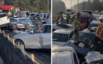 Na americkej diaľnici sa zrazilo až 69 áut. Príčinou bola hmla a ľad na vozovke
