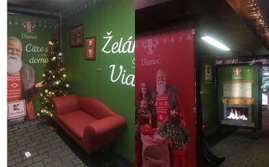 Na bratislavskom Trnavskom mýte môžeš zažiť Vianoce v autobusovej zastávke. Kaufland ju útulne prerobil