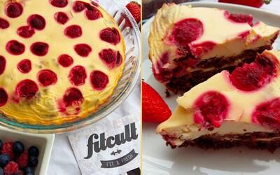 Na chuť bohatý a na přípravu jednoduchý fit koláč s malinami (Recept)