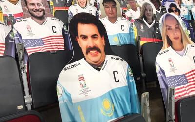 Na zápasech Kazachstánu fandí kartonový Borat. Hokejové MS nepovoluje živé diváky, nahradili je papíroví